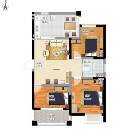 平岗星苑2室1厅1卫1厨105.00㎡户型图