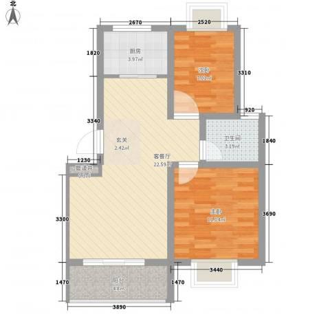 和谐家园2室1厅1卫1厨77.00㎡户型图