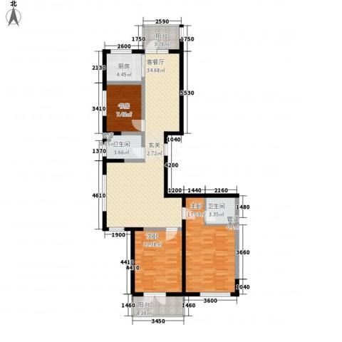 滨西花园二期3室1厅2卫1厨135.00㎡户型图