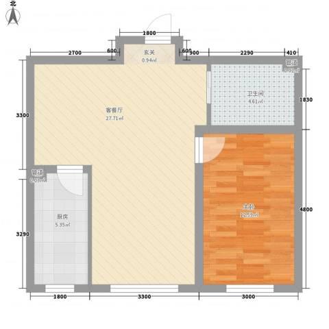 阳光华尔兹1室1厅1卫1厨67.00㎡户型图