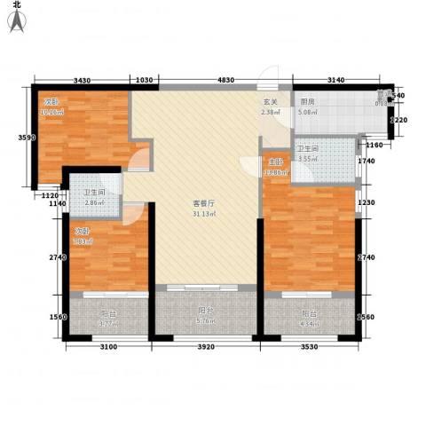 海怡半岛3室1厅2卫1厨127.00㎡户型图