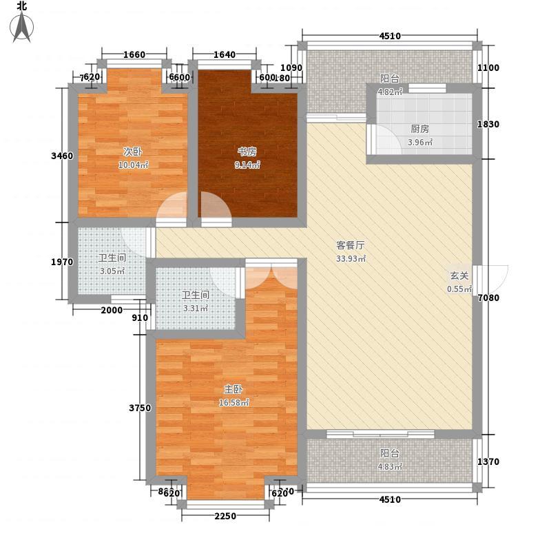 绿水星河131.10㎡高层标准层C户型3室2厅2卫1厨