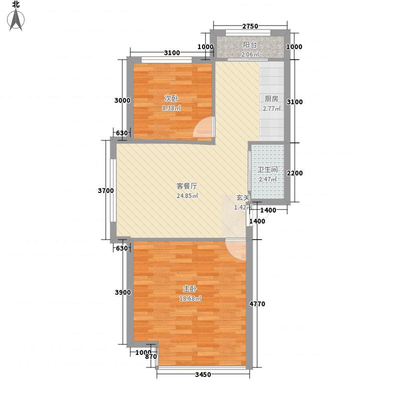 永升华庭34户型2室2厅1卫1厨