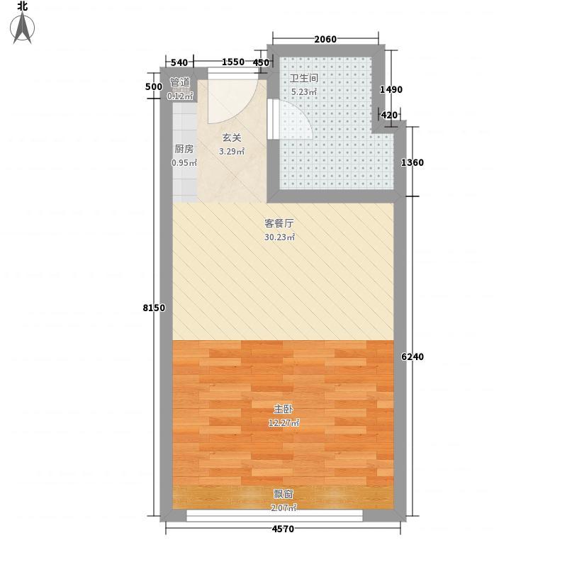 泰华幸福里5.00㎡一期高层住宅E户型1室1厅1卫1厨