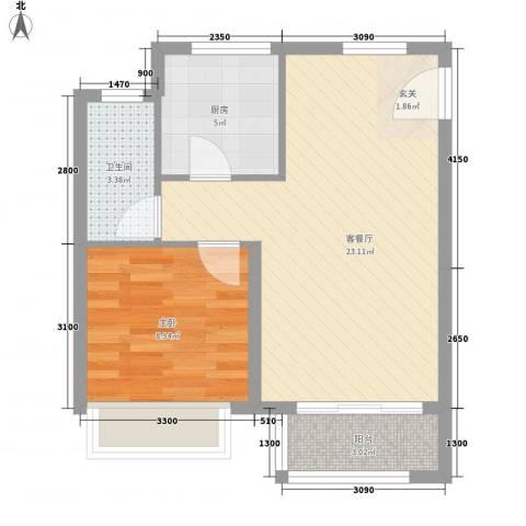 仁桥新村1室1厅1卫1厨62.00㎡户型图