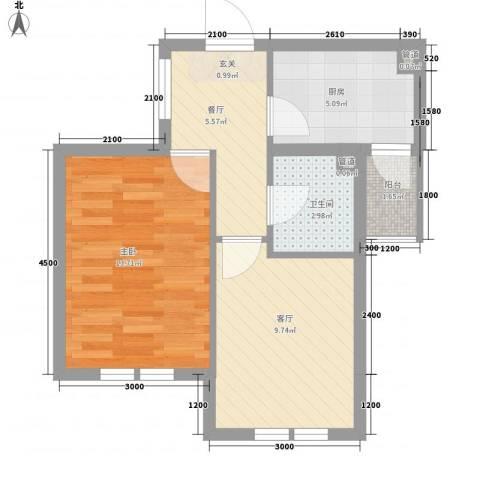 海创谷歌里1室2厅1卫1厨54.00㎡户型图