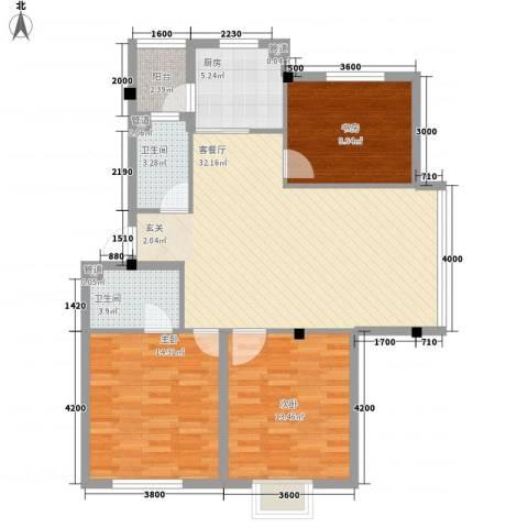 吉祥如意花园3室1厅2卫1厨84.54㎡户型图