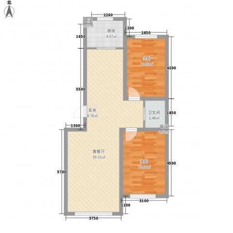 阳光华尔兹2室1厅1卫1厨88.00㎡户型图