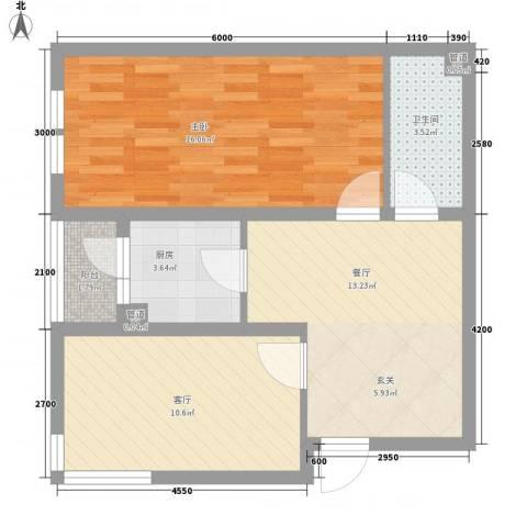 海创谷歌里1室2厅1卫1厨71.00㎡户型图