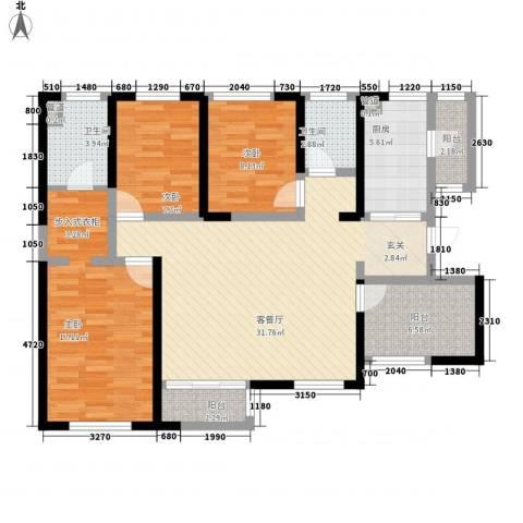 万科金域曲江3室1厅2卫1厨130.00㎡户型图