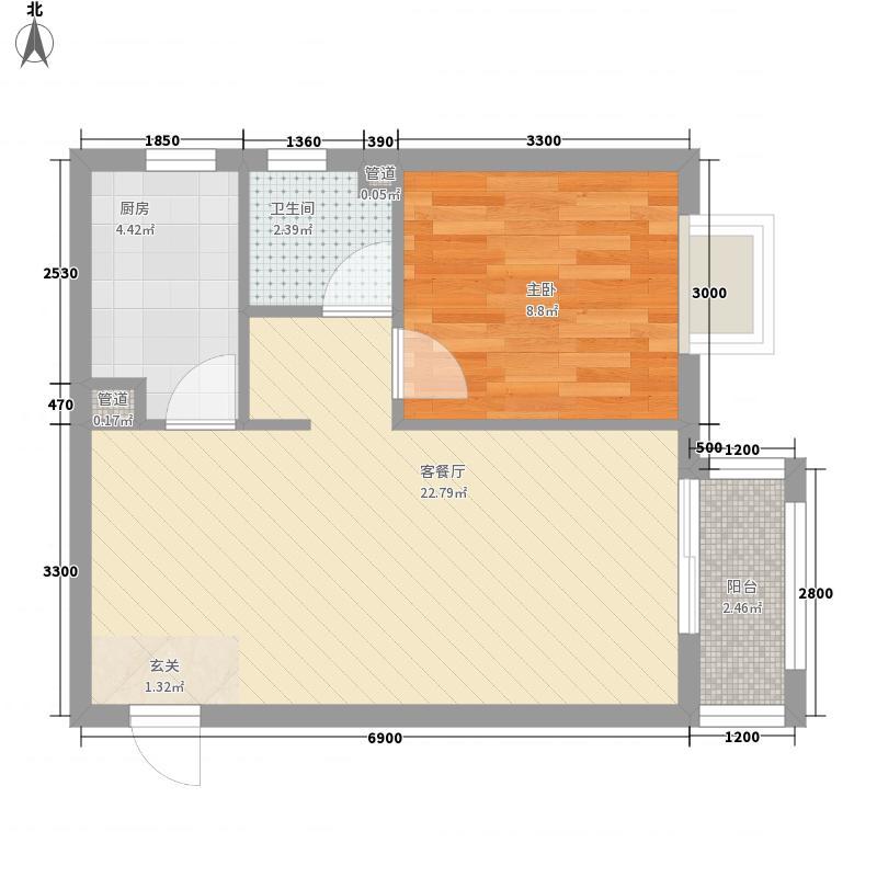 新天地二期・壹号院62.00㎡Q1户型1室1厅1卫1厨