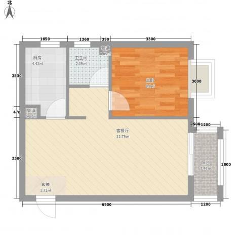 新天地二期・壹号院1室1厅1卫1厨62.00㎡户型图