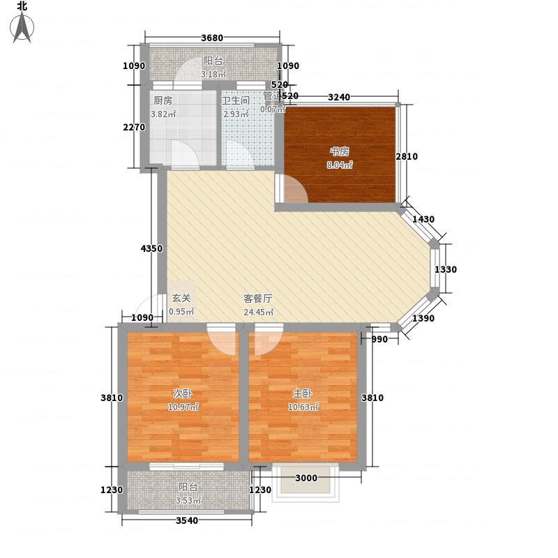 台北上上城7.00㎡一期多层标准层A户型3室2厅1卫1厨