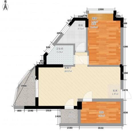 海天阳光花园2室1厅1卫1厨64.00㎡户型图