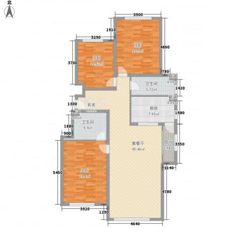 世嘉正园3室1厅2卫1厨164.00㎡户型图