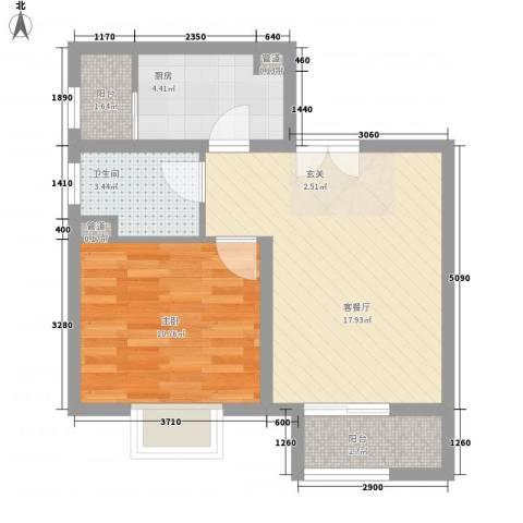南新街民政厅宿舍1室1厅1卫1厨60.00㎡户型图