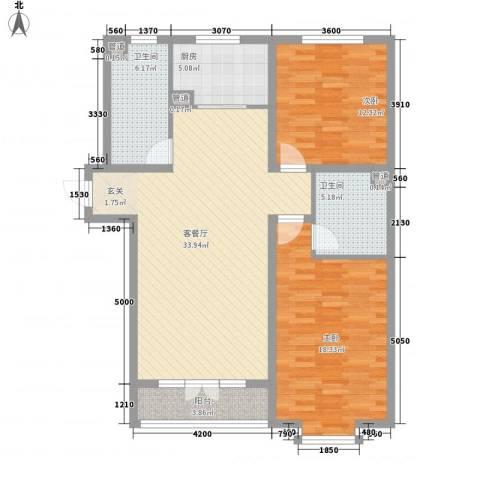 滨河印象2室1厅2卫1厨121.00㎡户型图