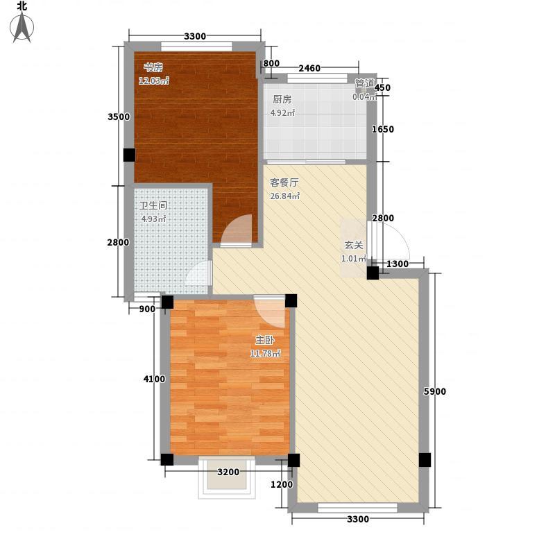 吉祥如意花园71.31㎡如意两居户型2室2厅1卫1厨