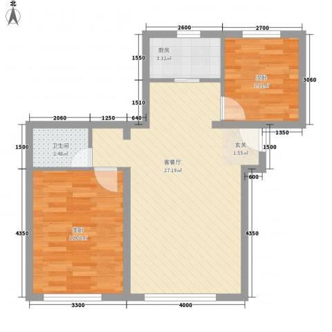 荷兰小镇二期2室1厅1卫1厨85.00㎡户型图