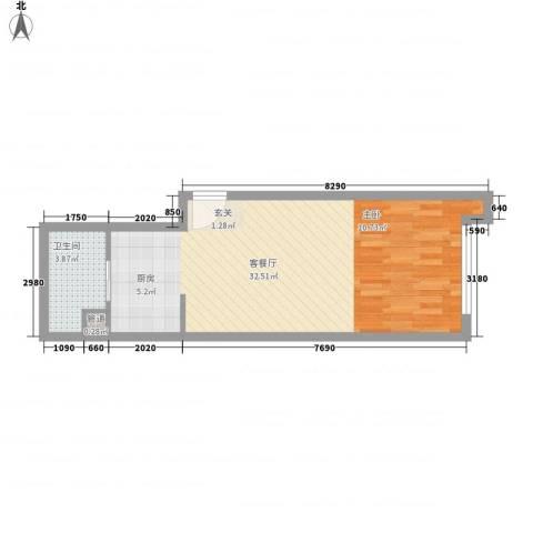 红星国际1厅1卫0厨51.00㎡户型图