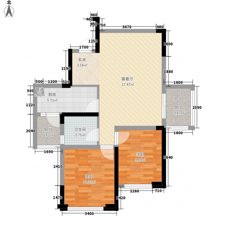 城南优品道广场86.00㎡一期H3户型2室2厅1卫1厨