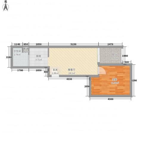 红星国际1室1厅1卫0厨52.00㎡户型图