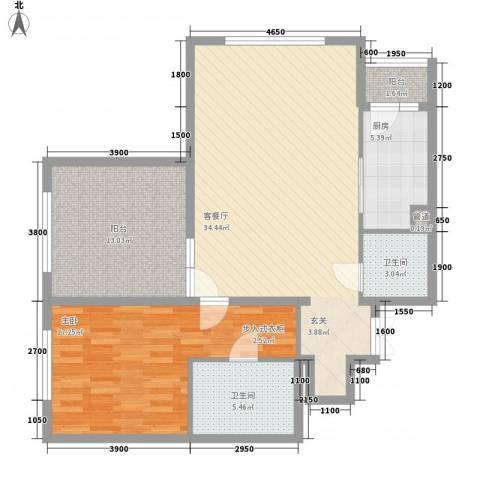 阳光100国际新城二期1室1厅2卫1厨113.00㎡户型图