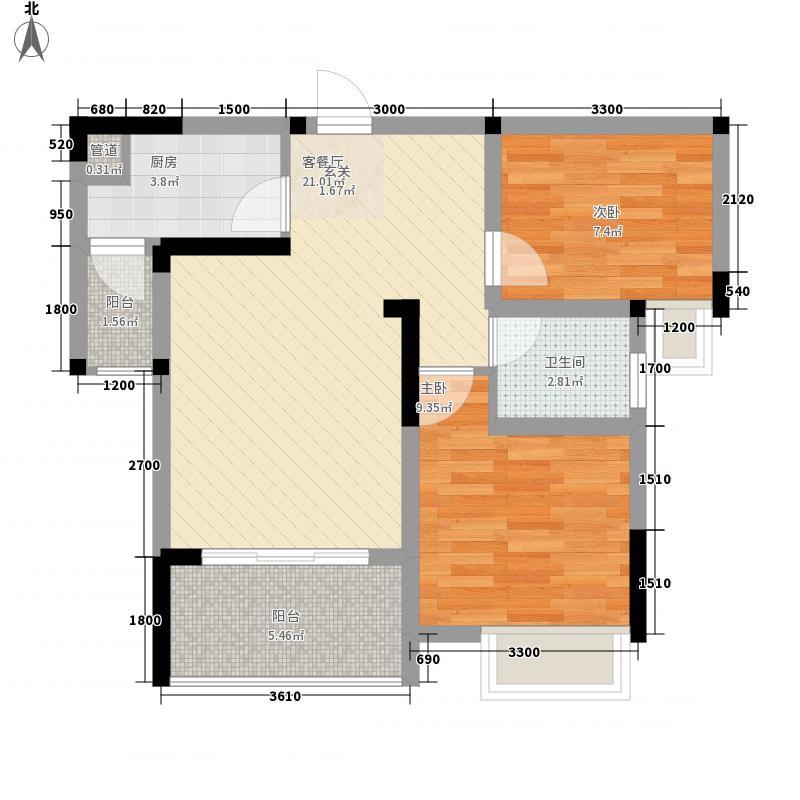 恋恋上层55.00㎡1、2栋标准层7号房户型2室2厅1卫1厨