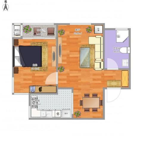 三和温泉小区1室1厅1卫1厨61.00㎡户型图