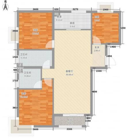 新天地二期・壹号院3室1厅2卫1厨131.00㎡户型图