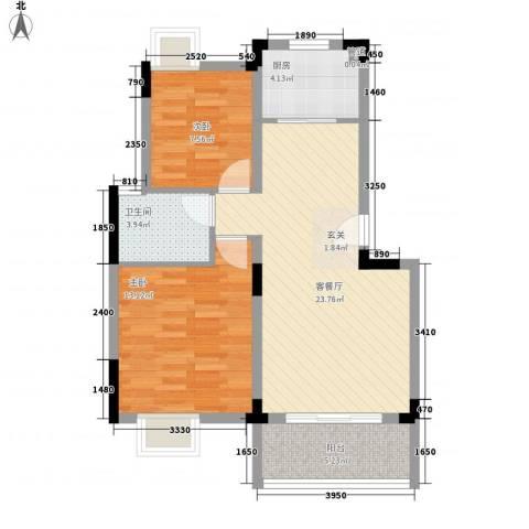 泾悦华庭2室1厅1卫1厨83.00㎡户型图