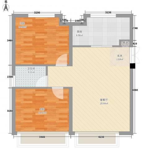 国际花都2室1厅1卫1厨83.00㎡户型图