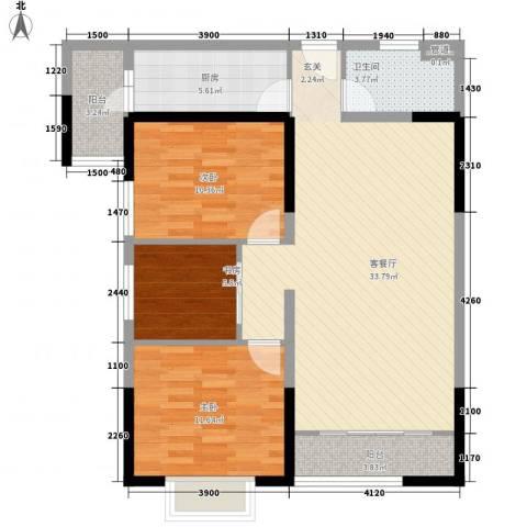 金沙城市广场3室1厅1卫1厨78.14㎡户型图