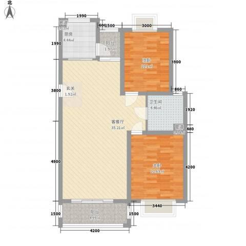 锦盛新城2室1厅1卫1厨78.00㎡户型图