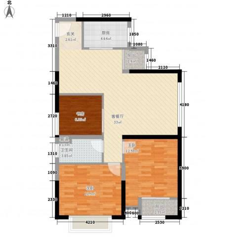 金沙城市广场3室1厅1卫1厨78.39㎡户型图