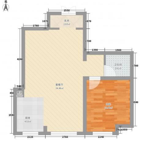 国际花都1室1厅1卫0厨68.00㎡户型图