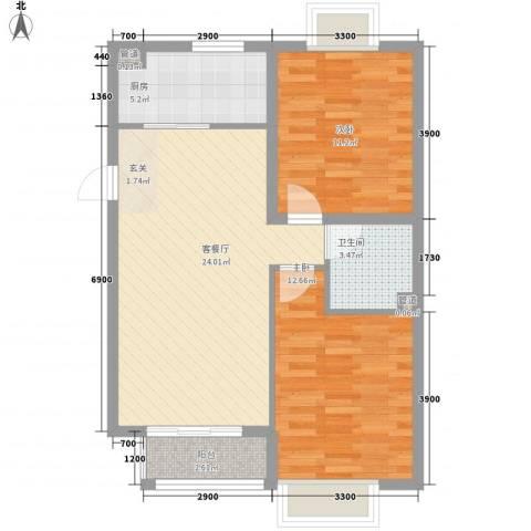 新天地二期・壹号院2室1厅1卫1厨59.34㎡户型图