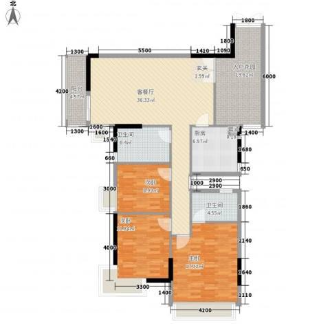 城蕊首府3室1厅2卫1厨141.00㎡户型图