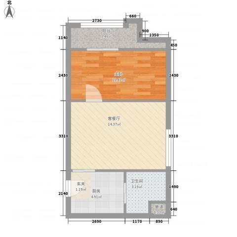 红星国际1室1厅1卫1厨53.00㎡户型图