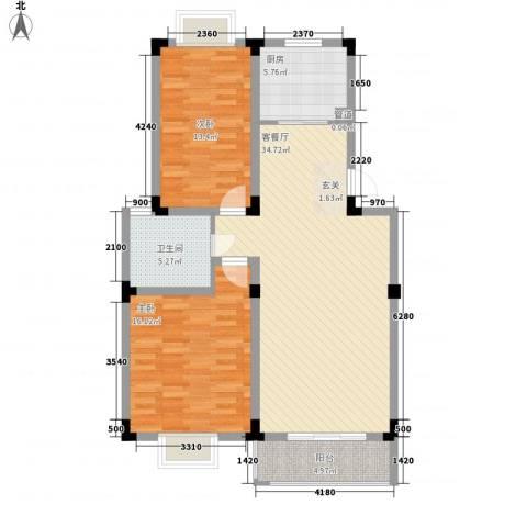 康城水云间2室1厅1卫1厨113.00㎡户型图
