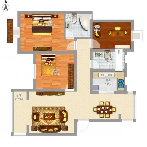 尹东新村3室1厅2卫1厨136.00㎡户型图