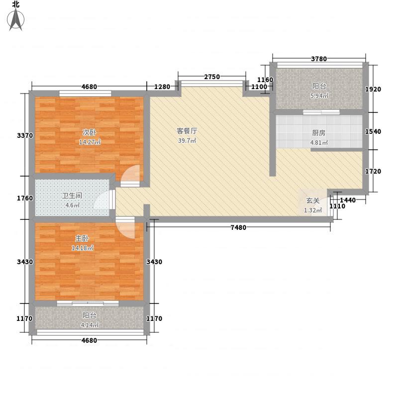 美意苑11.34㎡A户型2室1厅1卫1厨
