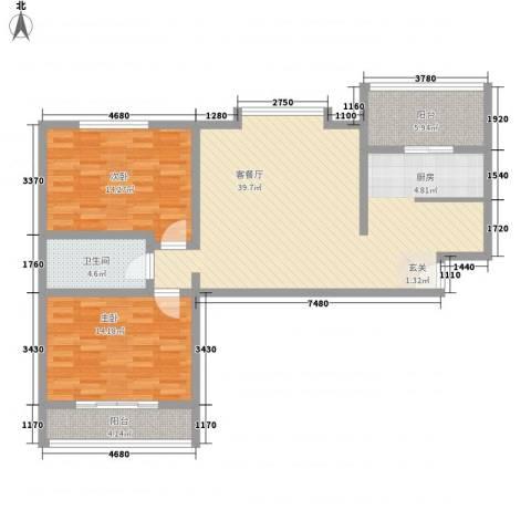 美意苑2室1厅1卫0厨82.84㎡户型图