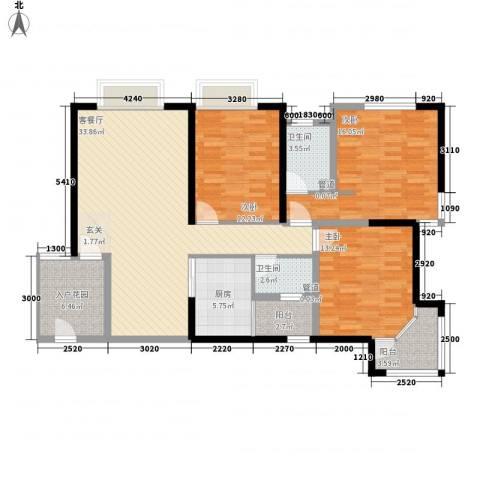 金沙城市广场3室1厅2卫1厨134.00㎡户型图