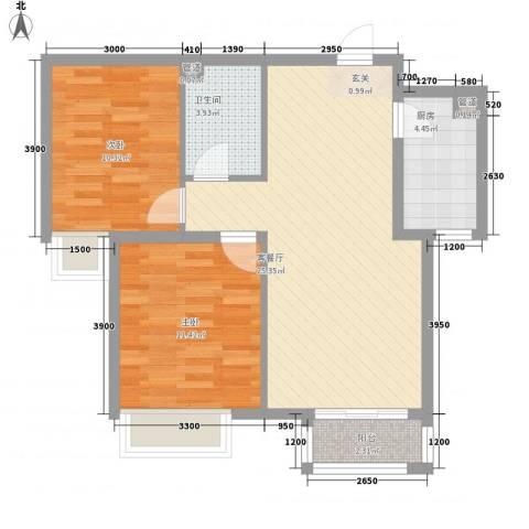 新天地二期・壹号院2室1厅1卫1厨88.00㎡户型图