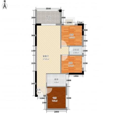九龙新苑3室1厅1卫1厨89.00㎡户型图