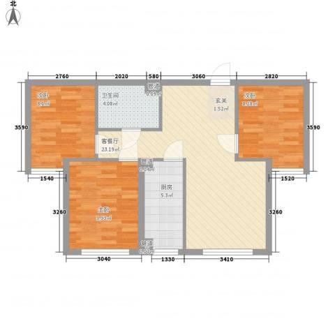 太阳城3室1厅1卫1厨84.00㎡户型图