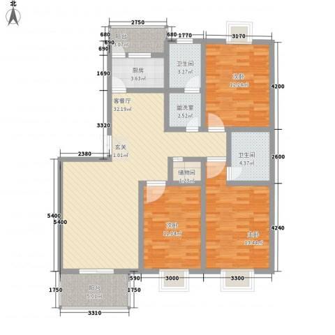 滹沱河小区澜庭3室2厅2卫1厨126.00㎡户型图