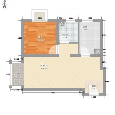 富地广场1室1厅1卫1厨55.00㎡户型图