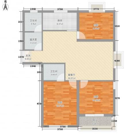 联运家园3室2厅2卫1厨124.00㎡户型图